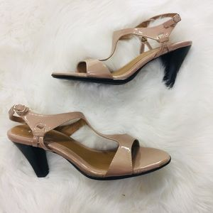 Pesaro Nude Strappy Gloss Sandals Heels   11